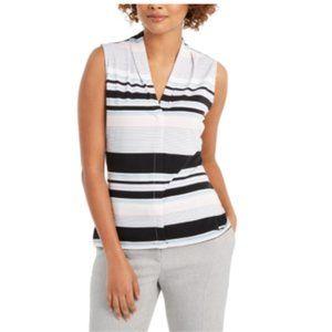 NWT Calvin Klein Striped V-Neck Blouse S